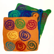Handmade and Fair Trade Colorful Felt Wool Potholder - Spirals