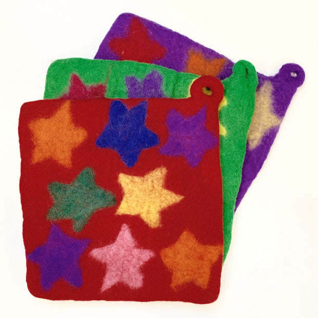 Handmade and Fair Trade Colorful Felt Wool Potholder - Stars