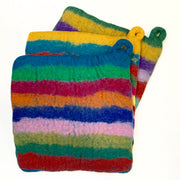 Handmade and Fair Trade Colorful Felt Wool Potholder - Stripes