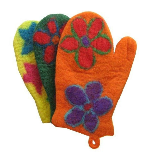 Colorful Felted Wool Oven Mitts - Flowers