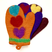 Colorful Felted Wool Oven Mitts - Hearts
