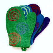 Colorful Felted Wool Oven Mitts - Spirals
