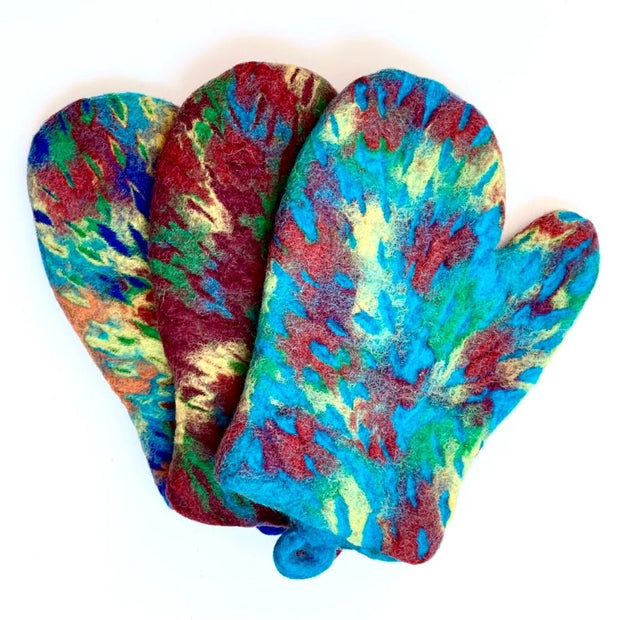 Colorful Felted Wool Oven Mitts - Splatter
