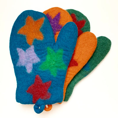 Colorful Felted Wool Oven Mitts - Stars