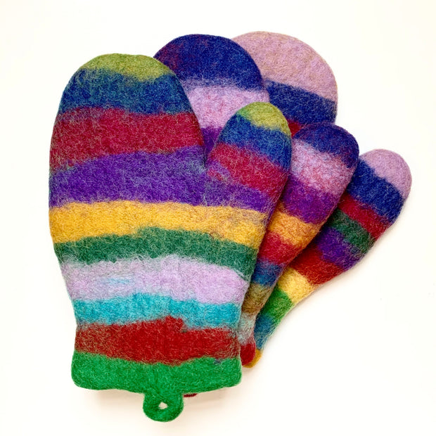 Colorful Felted Wool Oven Mitts - Stripes