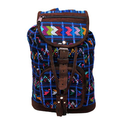 Fair Trade Embroidered Canvas and Leather Backpack