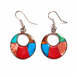 Handmade and Fair Trade Mosaic stone on alpaca silver round earrings