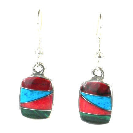 Silver & Turquoise Stone Mosaic Earrings