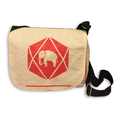 Recycled Cement Sack Small Messenger Bag - Diamond Elephant