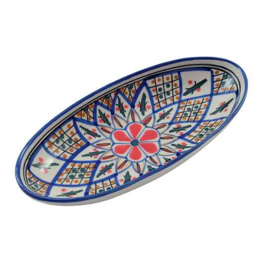 Small Hand-painted Ceramic Oval Platter - Tabarka Design