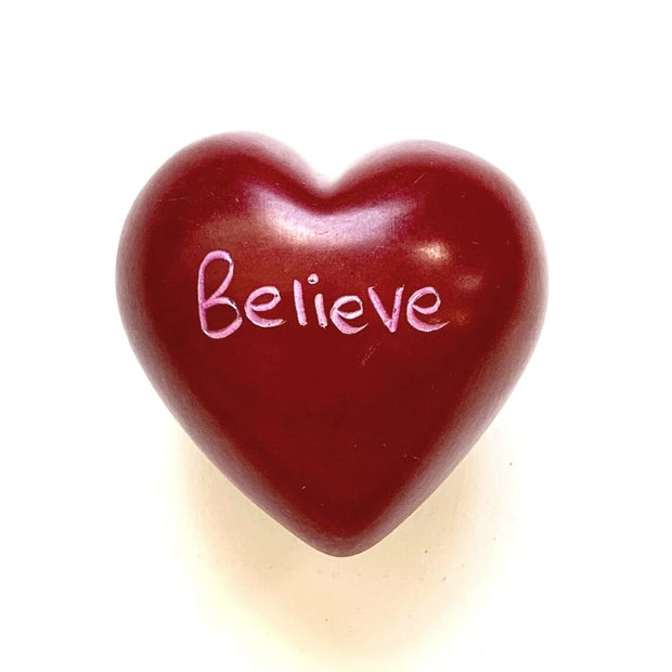 Small Word Soapstone Heart - Believe