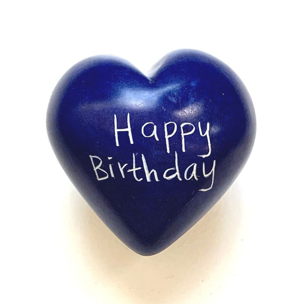 Small Word Soapstone Heart - Happy Birthday