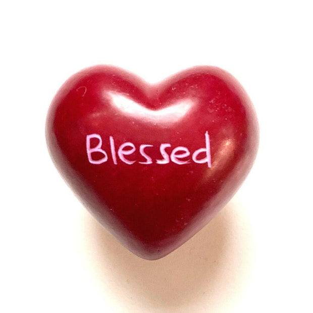 Small Word Soapstone Heart - Blessed