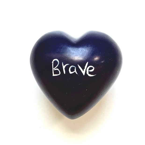 Small Word Soapstone Heart - Brave