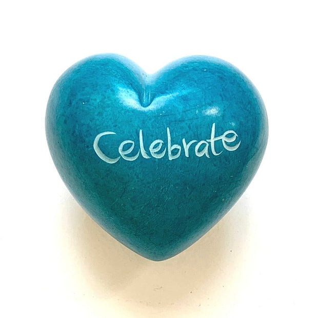 Small Word Soapstone Heart - Celebrate