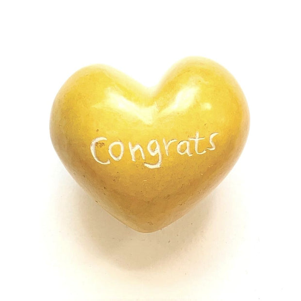 Small Word Soapstone Heart - Congrats
