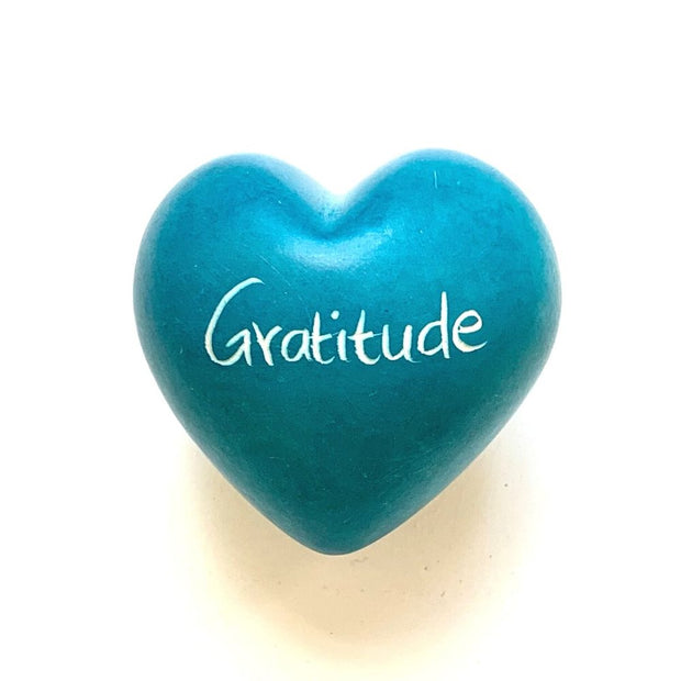 Small Word Soapstone Heart - Gratitude