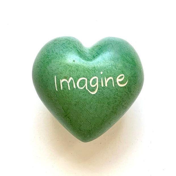 Small Word Soapstone Heart - Imagine
