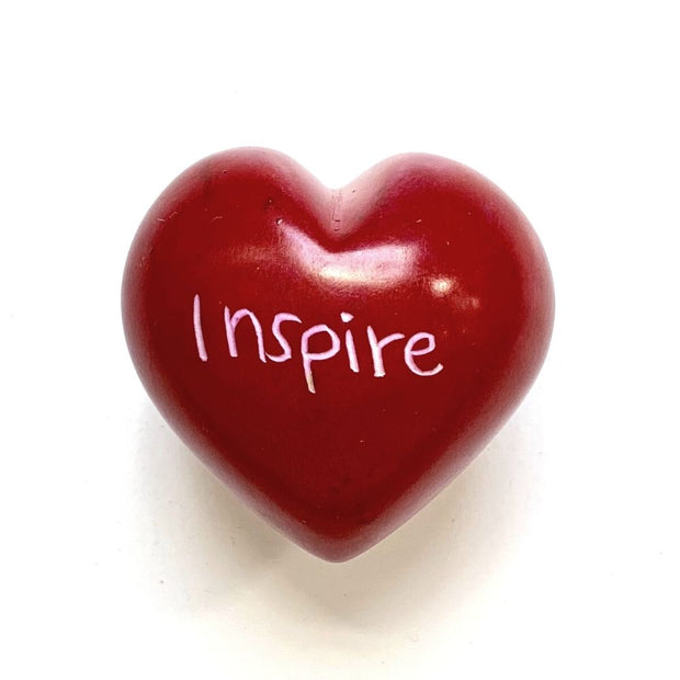 Small Word Soapstone Heart - Inspire