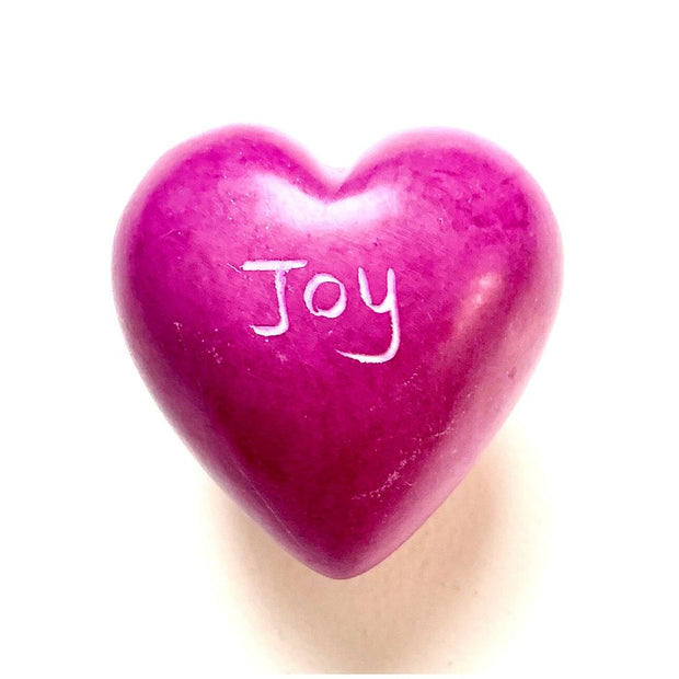 Small Word Soapstone Heart - Pink Collection Joy