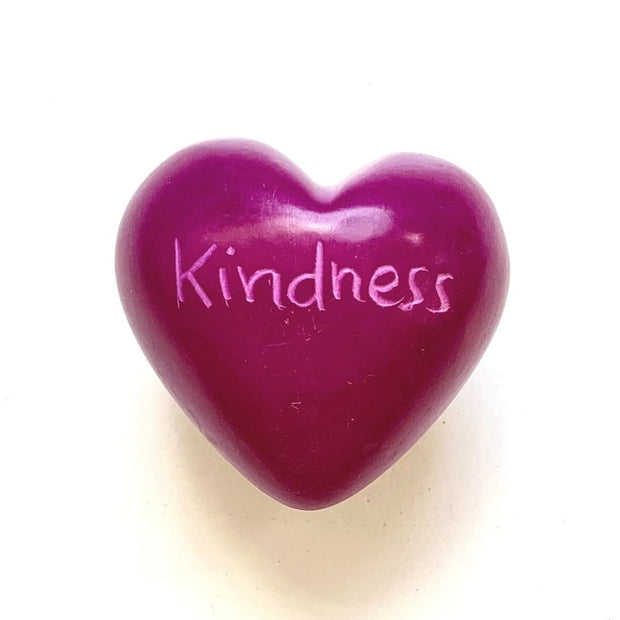 Small Word Soapstone Heart - Pink Collection Kindness