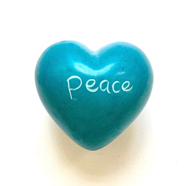 Small Word Soapstone Heart - Peace