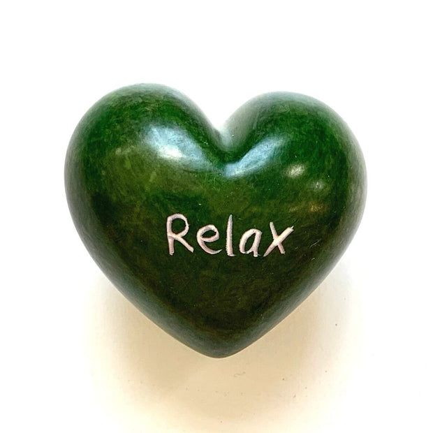 Small Word Soapstone Heart - Relax