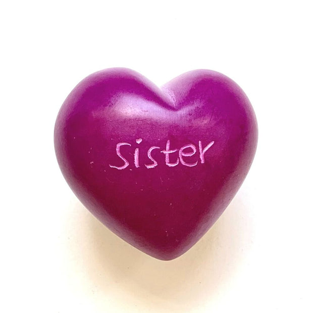 Small Word Soapstone Heart - Pink Collection Sister