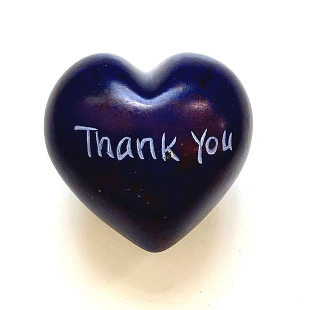 Small Word Soapstone Heart - Thank You