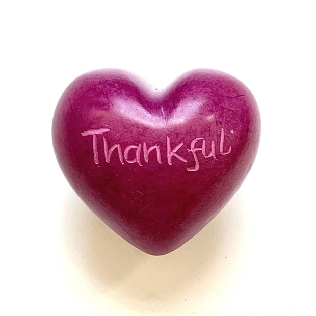Small Word Soapstone Heart - Pink Collection Thankful