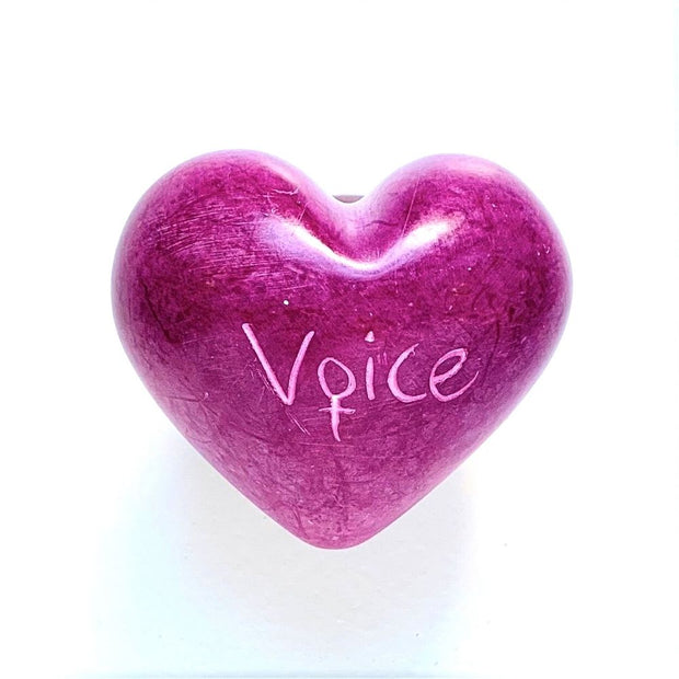 Small Word Soapstone Heart - Pink Collection Voice