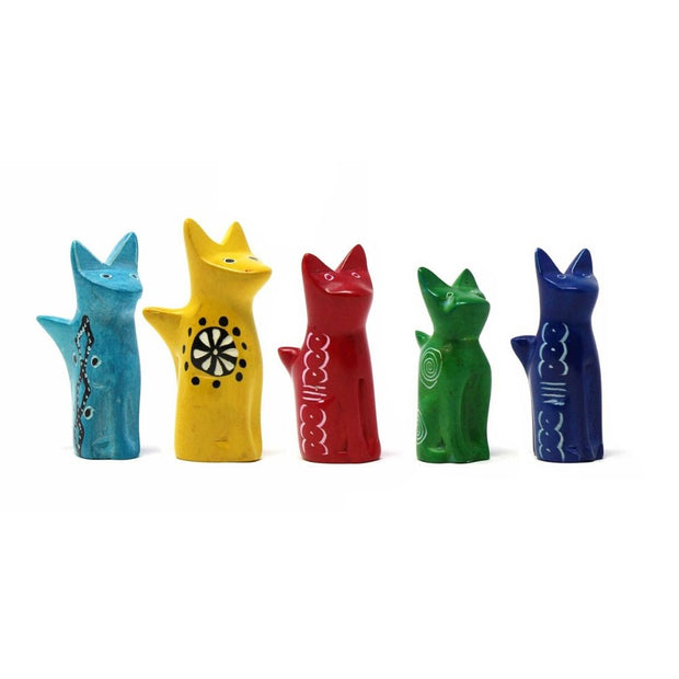 Tiny Soapstone Sitting Cat - assorted colors
