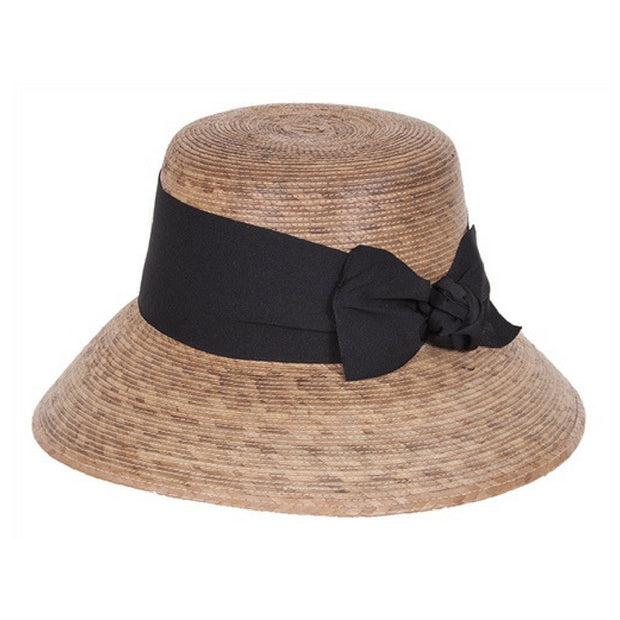 Somerset Black Bow Palm Leaf Hat side view