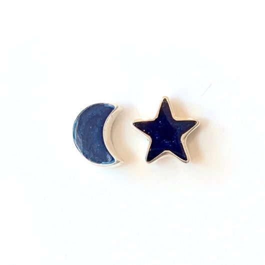 Sterling Silver with Lapis Lazuli Star and Moon Stud Earrings