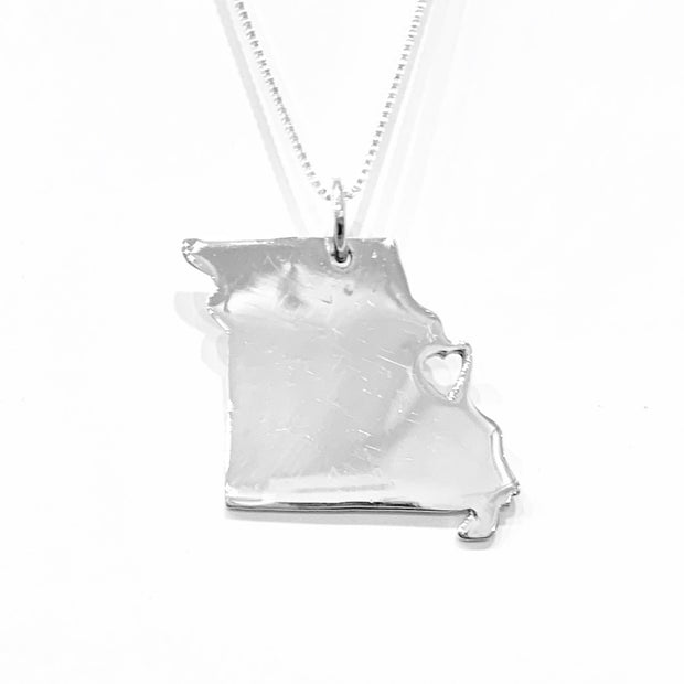 Sterling Silver Missouri State with Heart over St. Louis Necklace Pendant