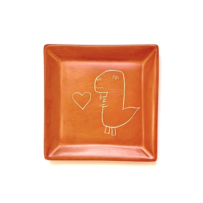 Square Orange Soapstone Dish - T-Rex in Love