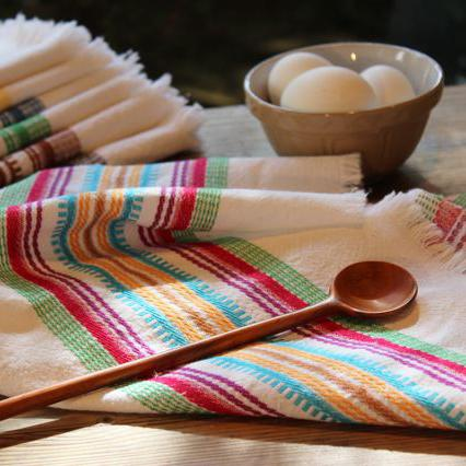 Hand-woven Cotton Kitchen Towel - Multicolor stripe lifestyle