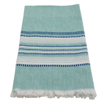 Hand-woven Cotton Kitchen Towel - Chambray Teal with Blue Stripe