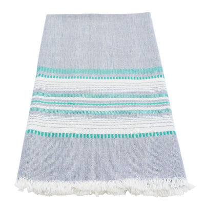Cotton Kitchen Towel - Chambray Slate and Teal Stripes