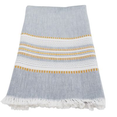 Hand-woven Cotton Kitchen Towel - Chambray Slate with Gold Stripe
