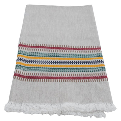 Hand-woven Cotton Kitchen Towel - Deep Color Multi Stripe