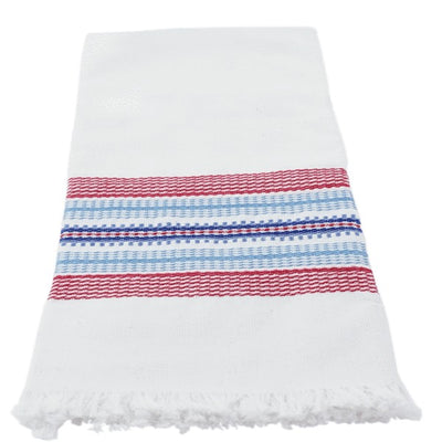 Hand-woven Cotton Kitchen Towel - Red and Blue Stripe