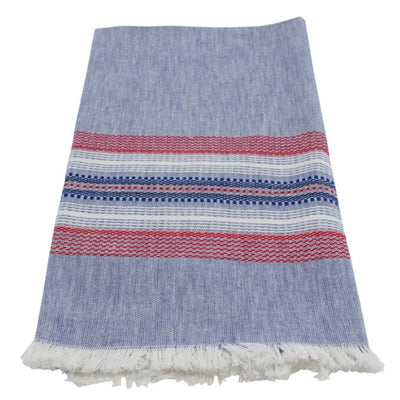 Hand-woven Cotton Kitchen Towel - Chambray Blue and Red Stripe