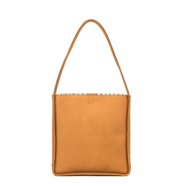 Tan Leather Travel Tote Bag