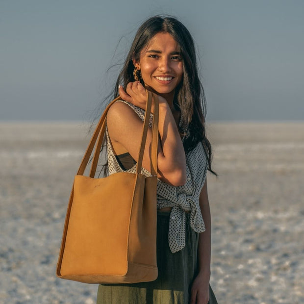 Tan Leather Travel Tote Bag model