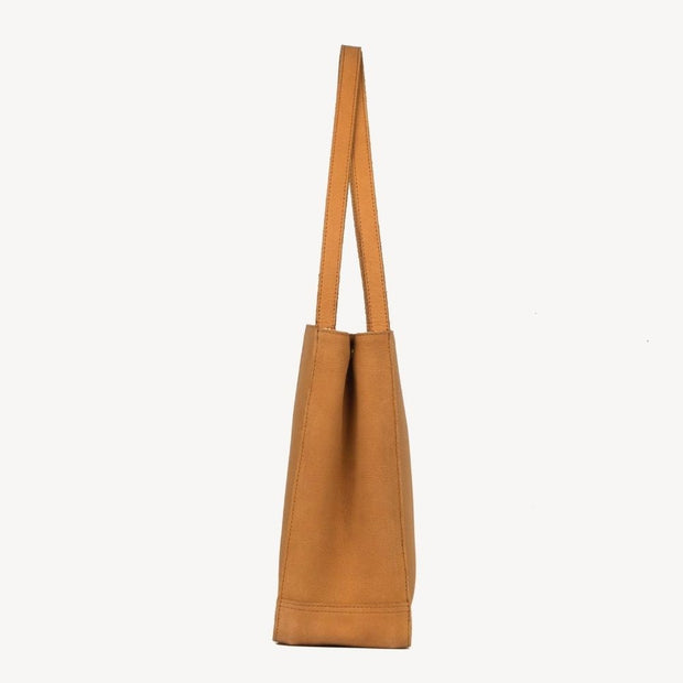 Tan Leather Travel Tote Bag side view