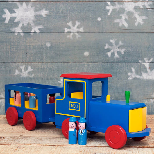Train Engine with Passengers Wooden Toy