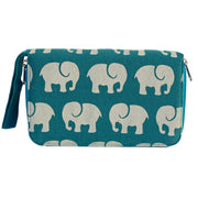 Fair Trade Elephant Print VW001 Travel Wallet - Teal Blue