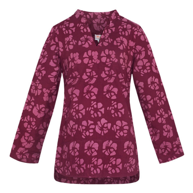 Global Mamas Organic Cotton Traveler Blouse Tunic - Camelia Wine
