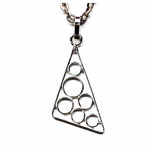 Handmade and Fair Trade sterling silver asymmetrical triangle and circles pendant